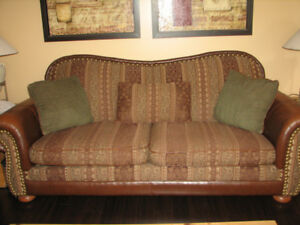 Comfy Leather armed & cloth couch & large chair!