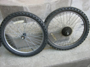 """PAIR OF 20"""" BIKE WHEELS WITH TIRES"""
