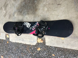 "Ladies Rossignol ""Myth"" Snowboard Burton Bindings and bag"