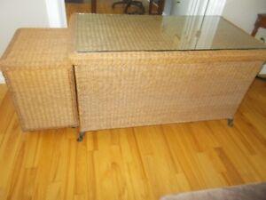 Unique/Antique Wicker Desk and File Cabinet