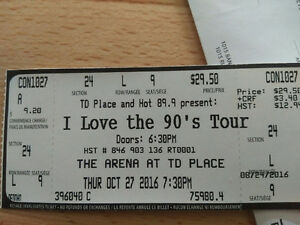 I love the 90's Tour - 4 tickets, Sec 24, Row L, Seats 6,7,8,9