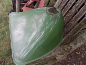 Vintage Large Metal Industrial Design Farm Green Enamel Light Sh