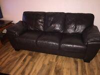BEAUTIFUL BLACK LEATHER 3 seater sofa!