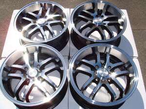 18 4x100 4x114.3 Polished 4 Lug Wheels Prelude Civic Integra Accord Alloy Rims