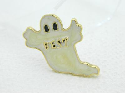 Vintage Halloween White Enamel BEST Ghost Gold Tone Darlene Group Pin Brooch - Best Group Costumes Halloween