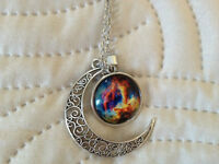 Colorful Galaxy Glass with Moon Shape Pendant