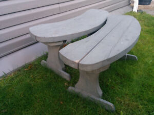 2 solid, curved wood benches - great for around the firepit
