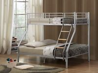 NOW IN BLACK SILVER OR WHITE-- BRAND NEW METAL TRIO SLEEPER BUNK BED WITH WIDE RANGE OF MATTRESSES