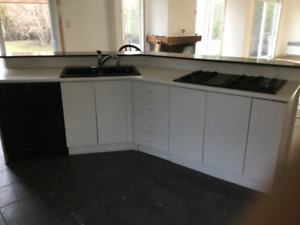 Kitchen island  cabinets white with marble countertop