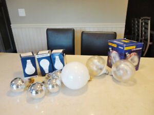 Several Fancy Light Bulbs- Crown Silver Bulbs & Globelescent