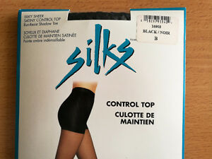 Women silky sheer pantyhose with satiny control top