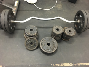 330 LBS of weights EZ curl bar Dumbel handle Flat Bench w/ cable