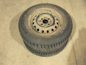 2 WINTER TIRES WITH RIMS (UNIROYAL TIGER PAW) 155/80/13