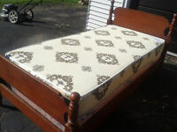 Single bed. Matress, boxspring, Maple head board & foot board