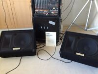 """Yamaha Emx850 mixer 8channels 15"""" main speakers inc stands 12"""" monitor speakers"""