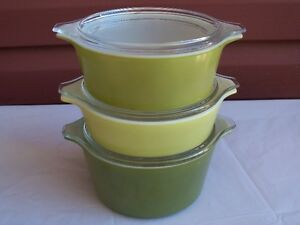 1960s Pyrex Avocado Green/Yellow-6 Pc.Cinderella Casserole set