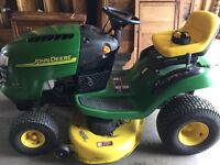 John Deere L111 Riding Mower and Trailer- Just like new!