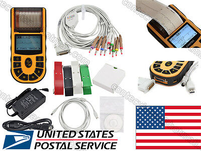 Ecg80a Handheld 1-channel 12-lead Ecg Ekg Machine Electrocardiographpc Software