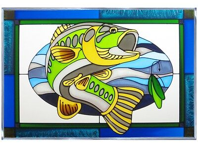 20x14 BASS Fish Stained Art Glass Suncatcher Bass Stained Glass Window
