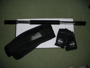 Weightlifting Belt, Curl and Gloves