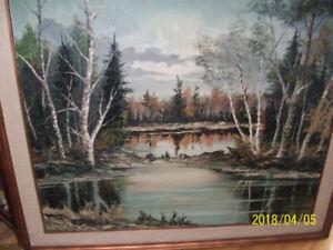 Tableau ancien paysager, peinture à l'huile signée W. ALEXANDER