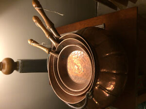 Copper kitchen pan set and kettle