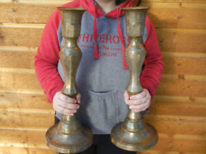 Set of Large Heavy Solid Brass Candle Sticks 18.5 inches tall