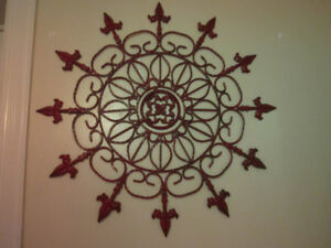 LARGE RED METAL WALL DECOR-HEAVY-NICE DESIGN
