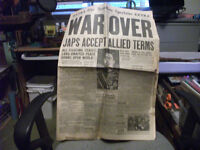 "AUGUST 14,1945 ""WAR OVER"" Newspaper (The HAMILTON Spectator)"