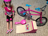 Barbie with bmx bike and ramp