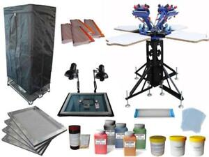 Micro Adjustment 4 Color Screen Printing kit with Simple Exposure & Drying Cabinet 006941