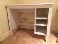 Grey ikea desk with shelves