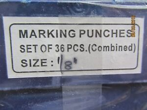 Letter and Number marking punches 1/8 inch high new in box