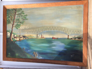 Very large oil painting (76 x 53 1/4 inches) by Flora Campbell