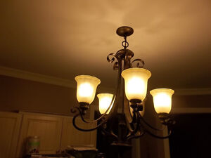 Chandelier + 5 additional light fixtures + pack of bulbs $100!