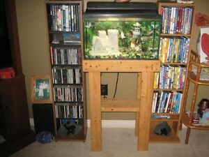 10 Gal. Fish Tank , Solid Wood Stand & Accessories