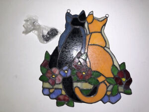 """TIFFANY STYLE 12.5""""H CATS IN GARDEN WINDOW PANEL- NEW- mnx"""