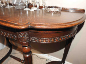 oak ornate antique krug flat to the wall sofa or  hall table