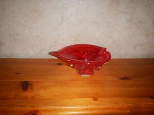 Cendrier en Verre Soufflé Rouge