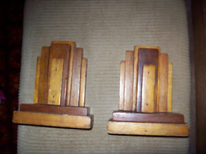 Vintage Art Deco style wood bookends London Ontario image 1