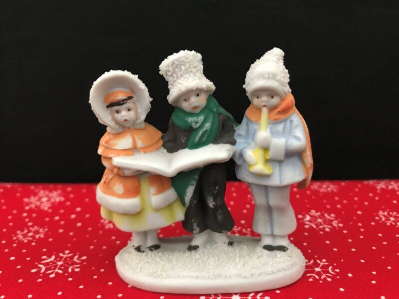 Antique Vintage Germany Bisque Snow Baby Carolers Trio Figurine