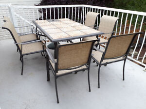 """Patio tile (64"""" x 40"""" )Table & 6 chairs"""
