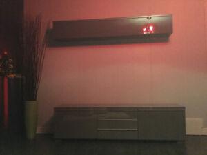 Meuble télé et armoire de rangement Ikea gris
