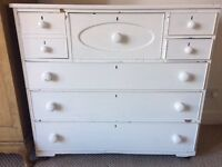 Solid wood old fashioned chest of drawers, painted white. H: 110cm W:120cm, D: 50cm
