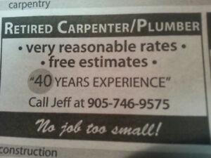 Semi-Retired Plumber/Carpenter, Over 40 Years Experience
