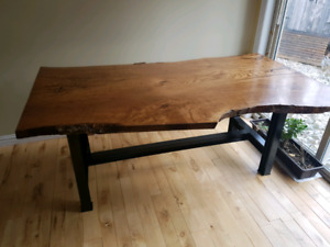 Solid oak live edge table
