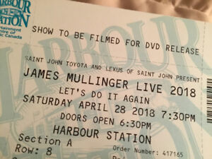"2 tickets James Mullinger Live 2018 ""Let's  Do It Again"""