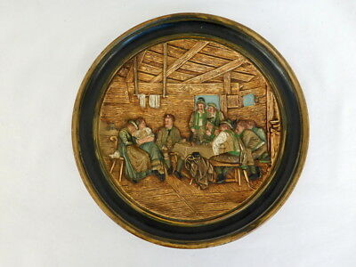 "JOHANN MARESCH ART POTTERY PLATE 9"" DIAMETER JM 5274 HIGH RELIEF"