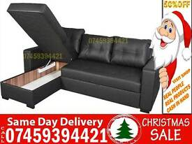50% Off BRAND NEW 5 SEATER LEATHER CORNER SOFA BED SETTEE, UNIVERSAL FABRIC SOFABED