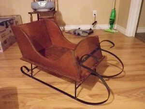 **Solid Pine Wooden Sleigh, with black wrought iron metal rails.